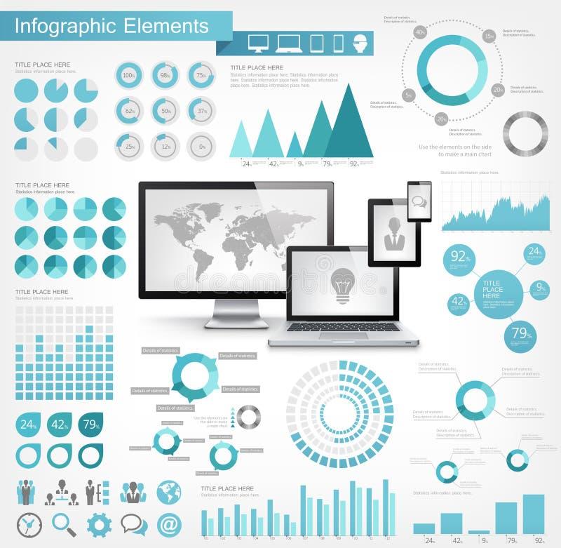 Elementos de Infographic da indústria das Tecnologias de Informação ilustração do vetor