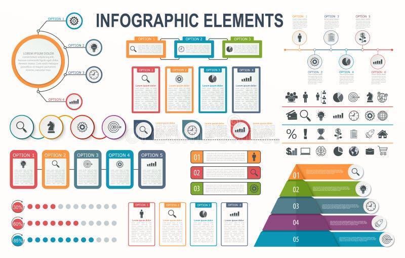 Elementos de Infographic, diagrama, disposição dos trabalhos, opções da etapa do negócio ilustração stock