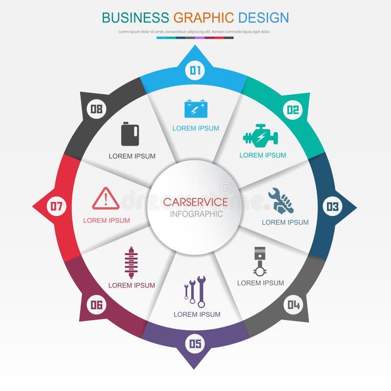 Elementos de Infographic do círculo com ícone do serviço do carro no processo do círculo do fundo da cor completa ou nas etapas e ilustração royalty free
