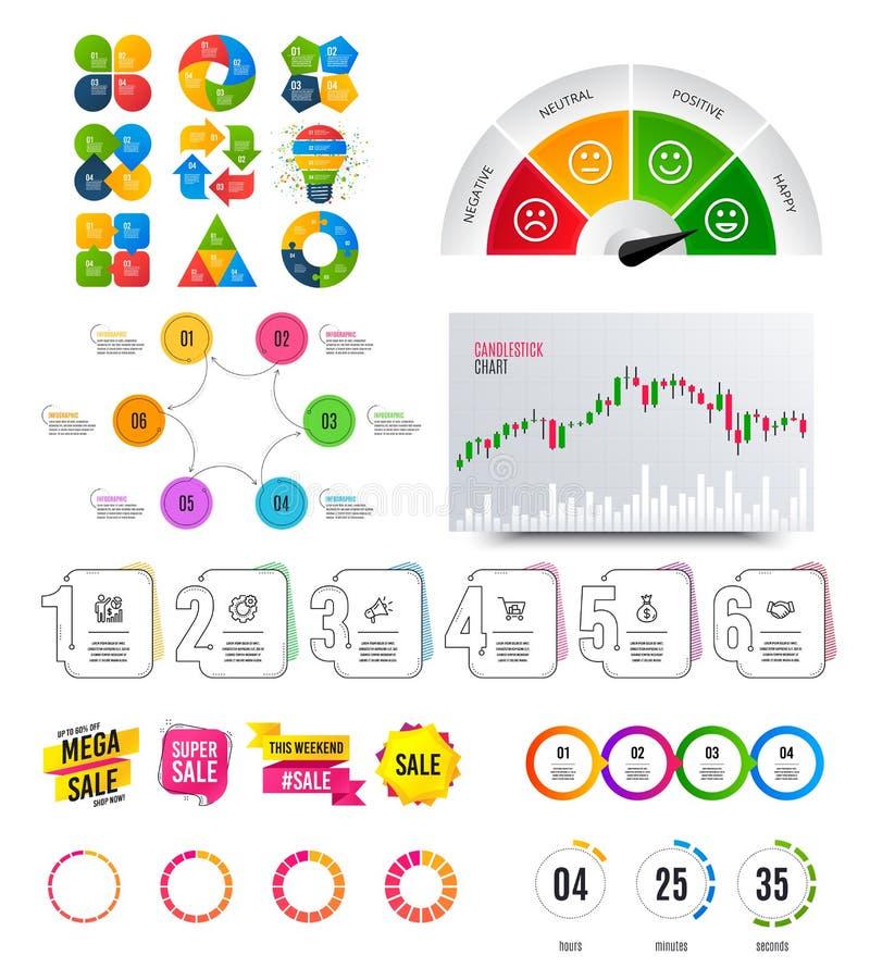 Elementos de Infographic Gráfico financiero, insignias de la bandera de las opciones Formas de la venta, cuenta descendiente Cart libre illustration