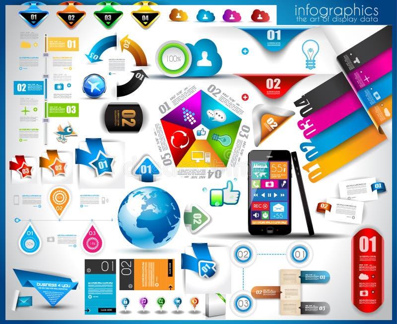 Elementos de Infographic - grupo das etiquetas de papel, ilustração stock