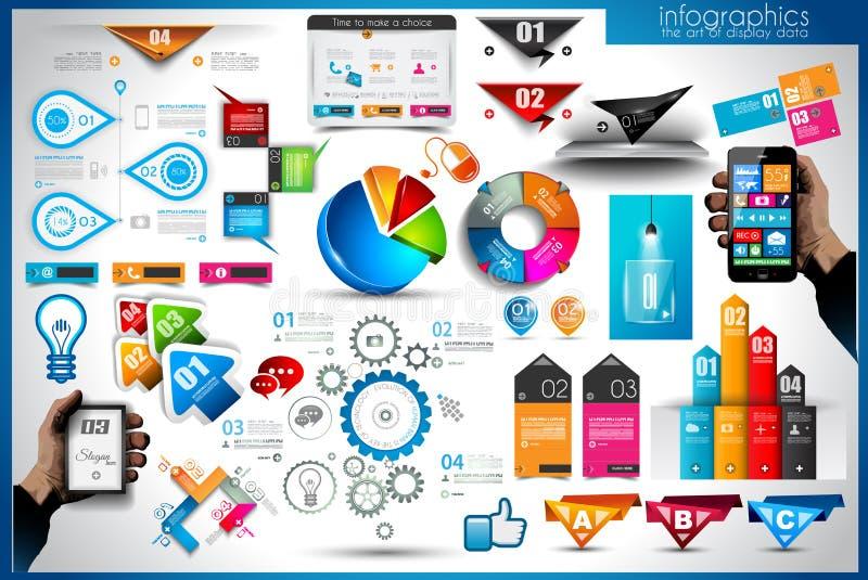 Elementos de Infographic - grupo das etiquetas de papel ilustração do vetor
