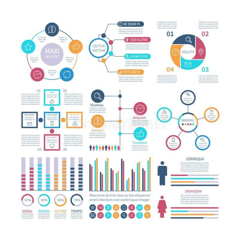 Elementos de Infographic Infochart moderno, carta de comercialización y gráficos, diagramas de la barra Gráfico de proceso de la  ilustración del vector