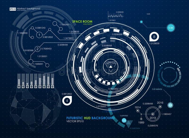 Elementos de Infographic Interface de utilizador futurista HUD Fundo abstrato com pontos e linhas de conexão conexão ilustração do vetor