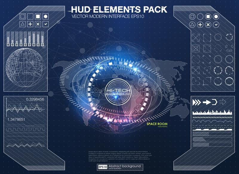 Elementos de Infographic interface de utilizador futurista HUD UI UX Fundo abstrato com pontos e linhas de conexão ilustração royalty free