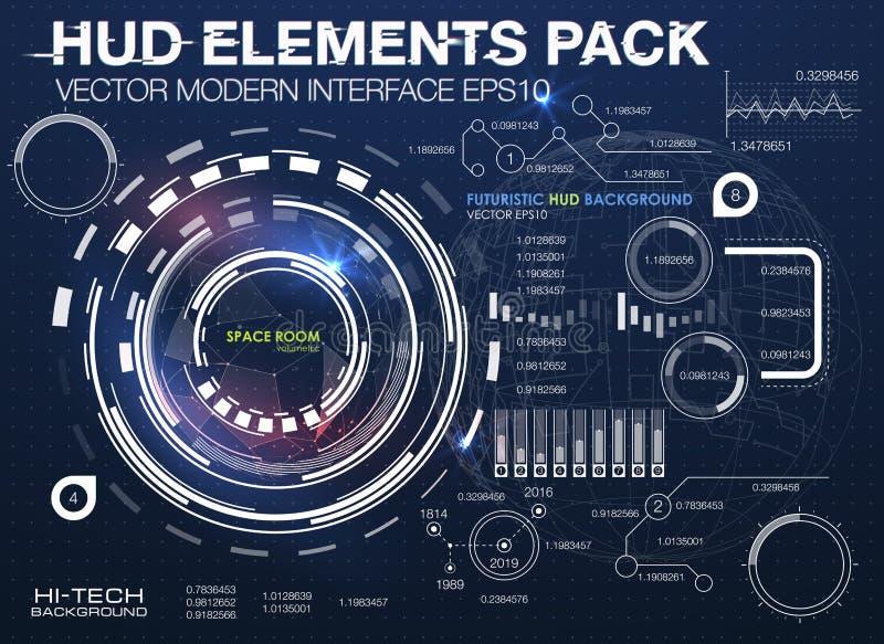 Elementos de Infographic interfaz de usuario futurista HUD UI UX Fondo abstracto con los puntos y las líneas de conexión stock de ilustración