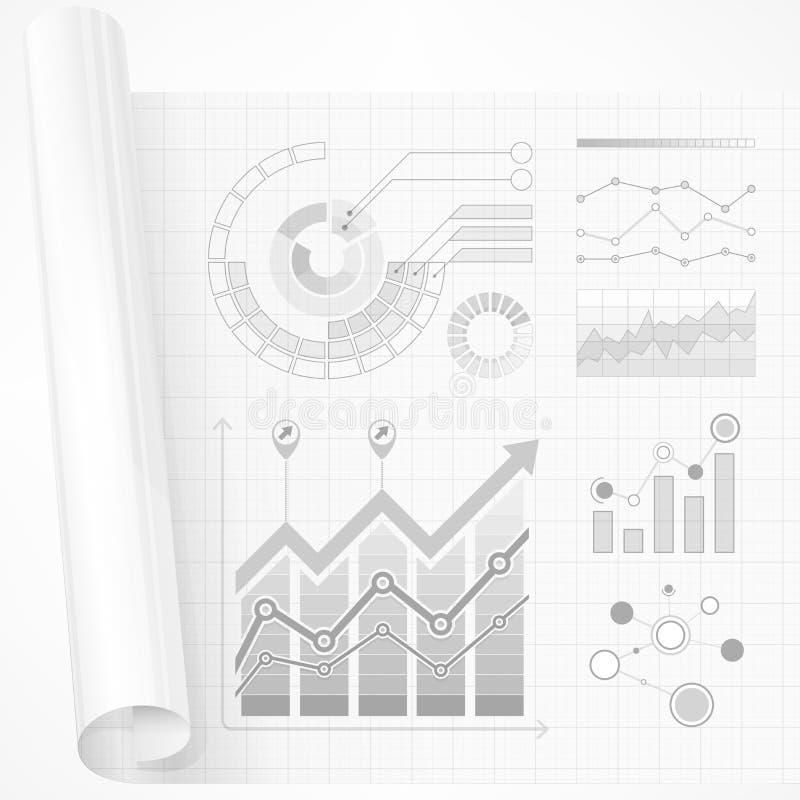 Elementos de Infographic no cinza ilustração do vetor
