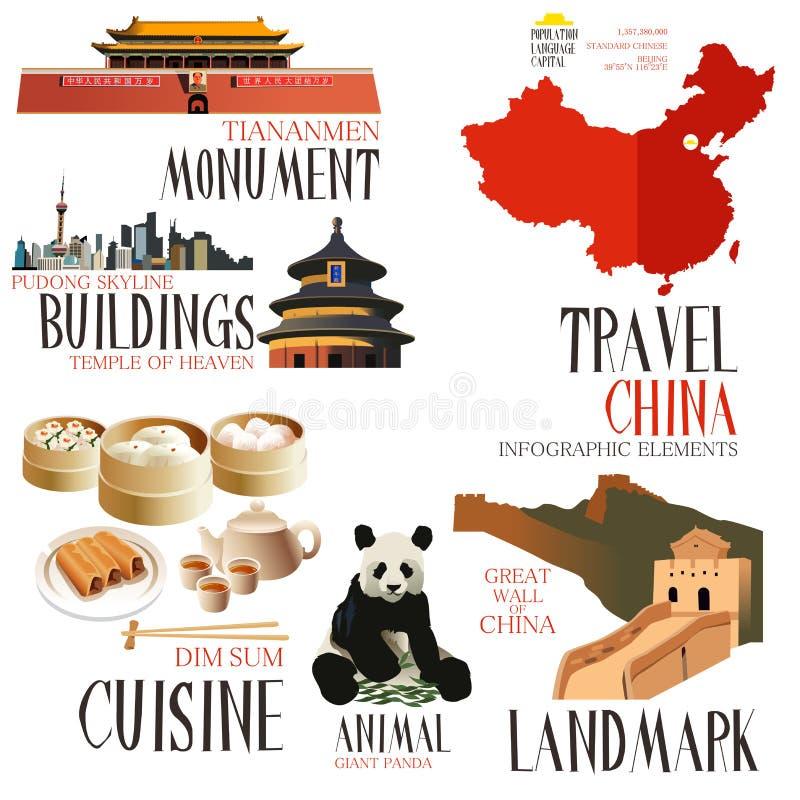 Elementos de Infographic para viajar a China libre illustration