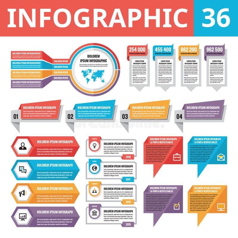 Elementos 36 de Infographic Sistema de elementos del diseño del vector en el estilo plano para la presentación del negocio, el fo ilustración del vector