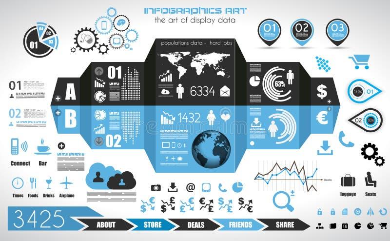 Elementos de Infographic - sistema de las etiquetas de papel, iconos de la tecnología,… stock de ilustración