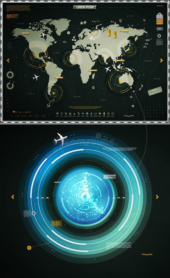 Elementos de Infographics de la correspondencia de mundo ilustración del vector