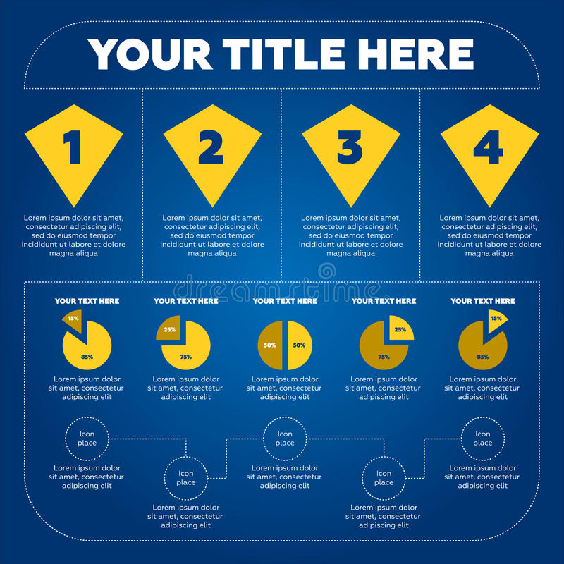 Elementos de Infographics - gráfico de sectores, 4 pasos stock de ilustración