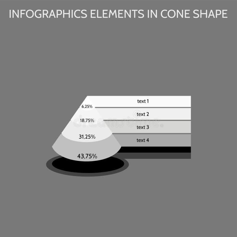 Elementos de Infographics na forma de cone em máscaras cinzentas ilustração royalty free