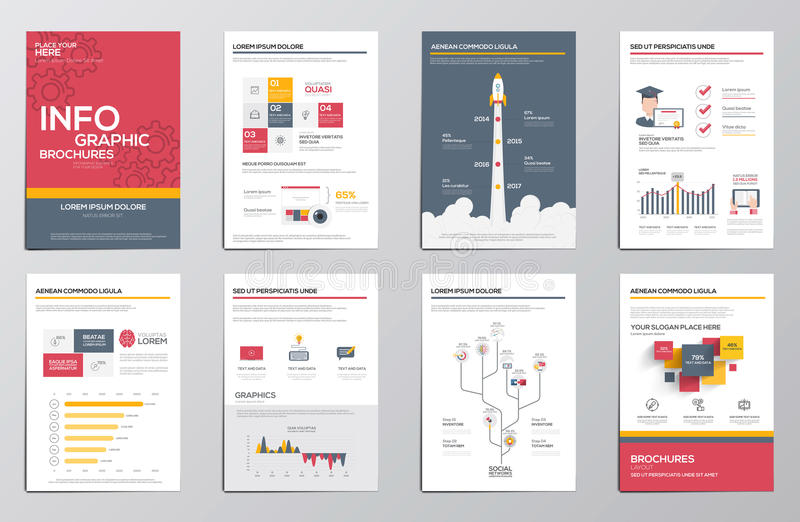 Elementos de Infographics para los folletos corporativos stock de ilustración