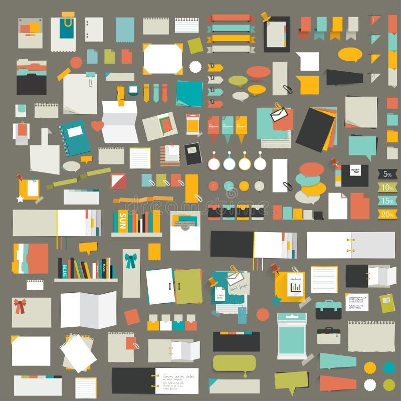 Elementos de Infographics Sistema grande de etiquetas engomadas planas del recordatorio stock de ilustración