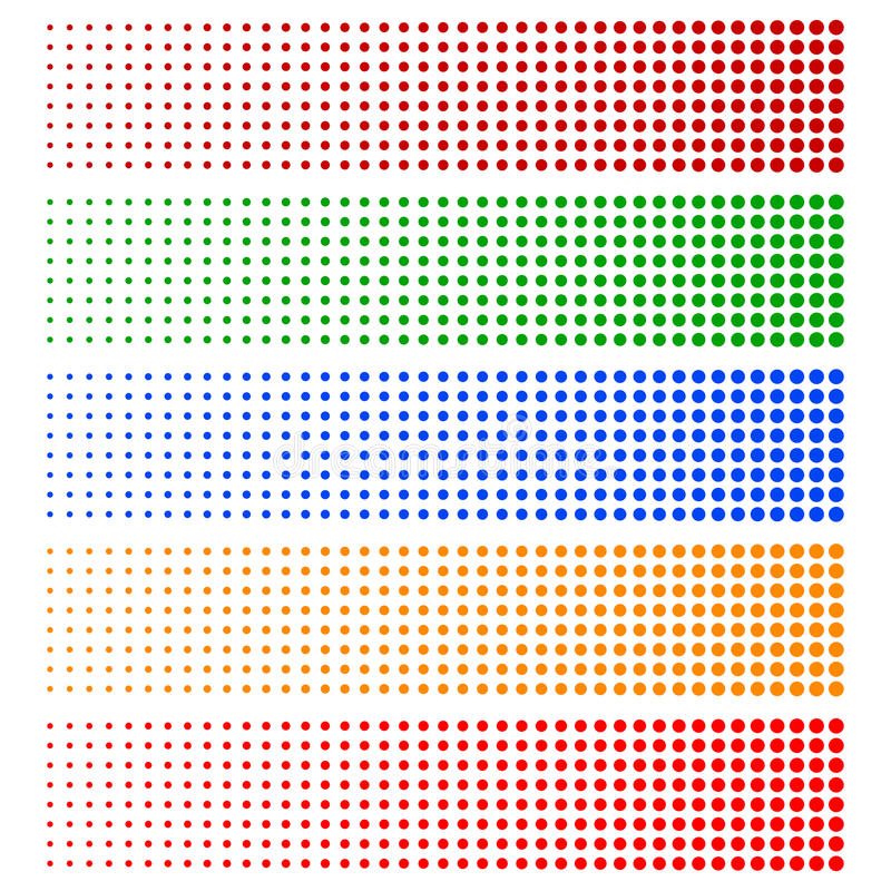 Elementos de intervalo mínimo Círculos de desvanecimento em 5 cores ilustração royalty free