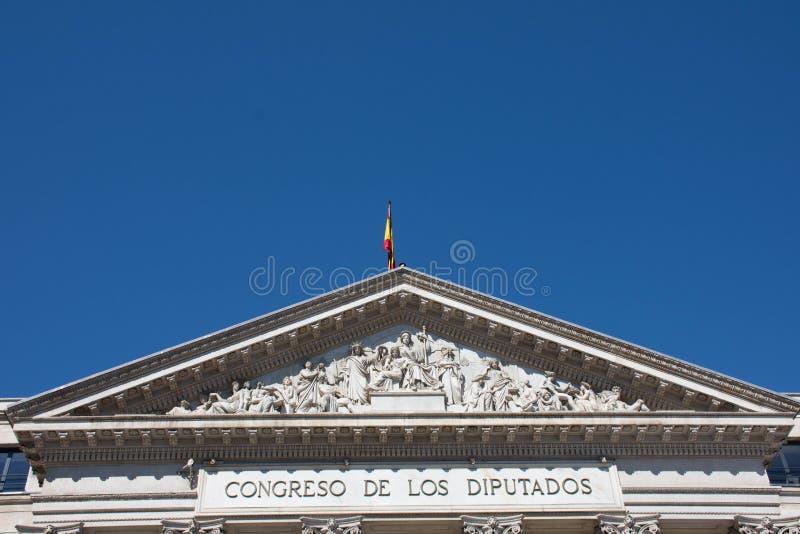 Elementos de la arquitectura Decoración de edificios en el centro de Madrid, España Fondo fotos de archivo
