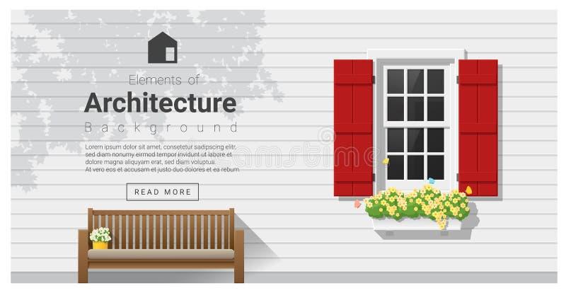 Elementos de la arquitectura, fondo de la ventana stock de ilustración