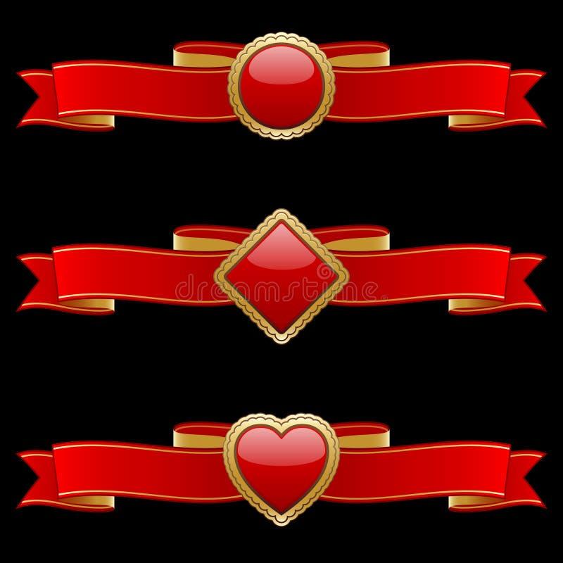 Elementos de la bandera del rojo y del oro ilustración del vector