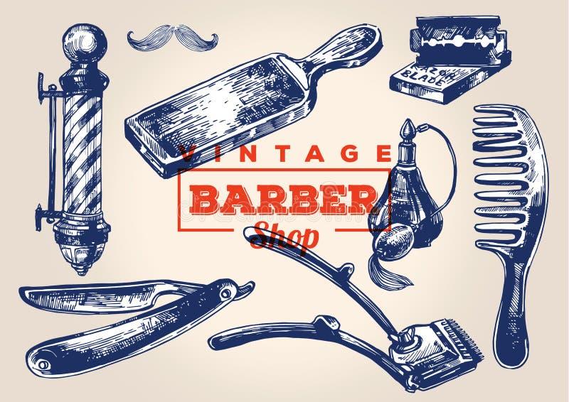 Elementos de la barbería del vintage Sistema 1 libre illustration