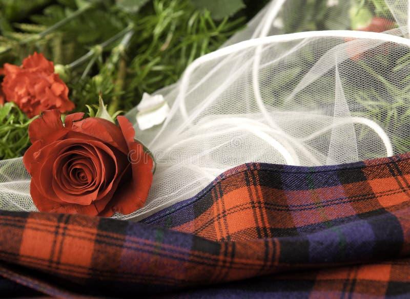Elementos de la boda del tartán fotos de archivo libres de regalías