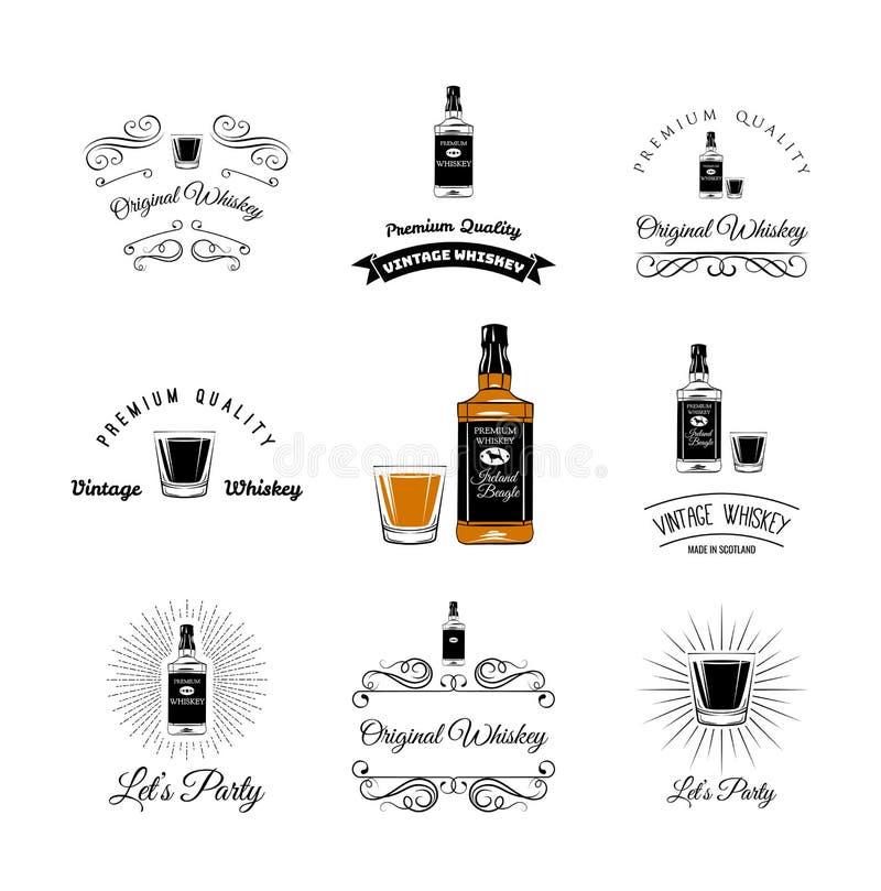Elementos de la botella y del alcohol de los vidrios Tequila, Champán, whisky, vino, brandy, ejemplo del vector del ron de la cer stock de ilustración