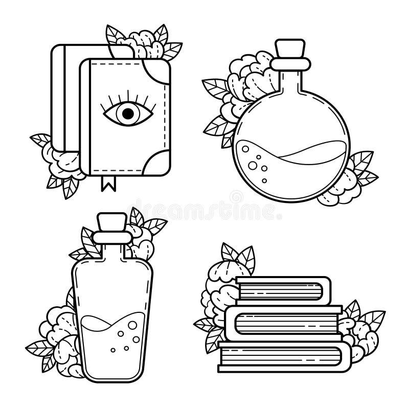 Elementos de la brujería dibujo del contorno libre illustration