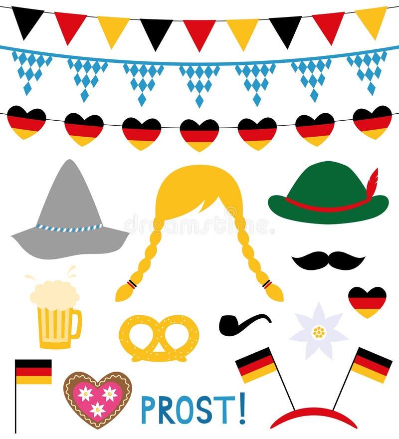 Elementos de la cabina y del diseño de la foto de Oktoberfest ilustración del vector
