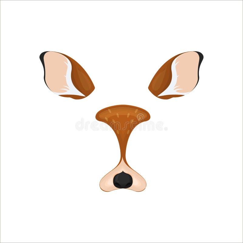 Elementos de la cara de los ciervos Ilustración del vector Oídos y nariz animales del carácter Efecto video del filtro de la cart libre illustration