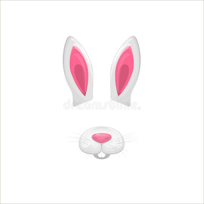 Elementos de la cara del conejo Ilustración del vector Oídos y nariz animales del carácter Efecto video del filtro de la carta pa ilustración del vector