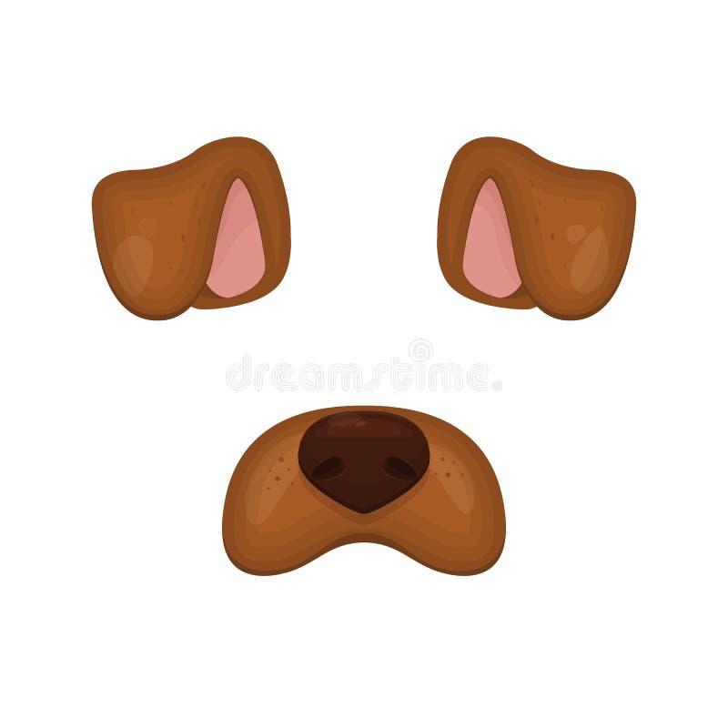 Elementos de la cara del perro Ilustración del vector Oídos y nariz animales del carácter Para la decoración de la foto del selfi ilustración del vector