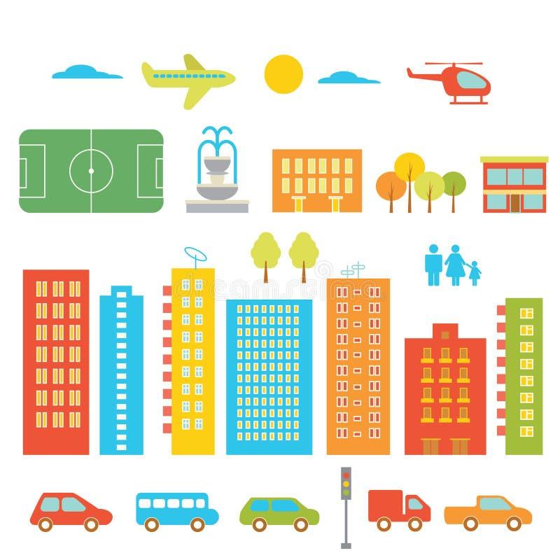 Elementos de la ciudad ilustración del vector