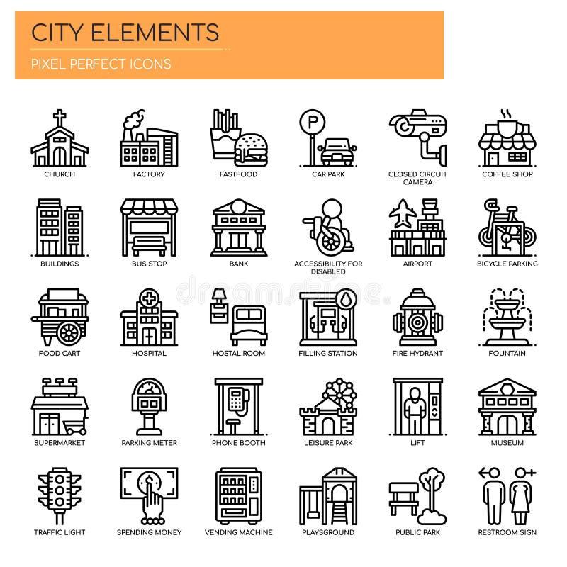 Elementos de la ciudad, iconos perfectos del pixel libre illustration