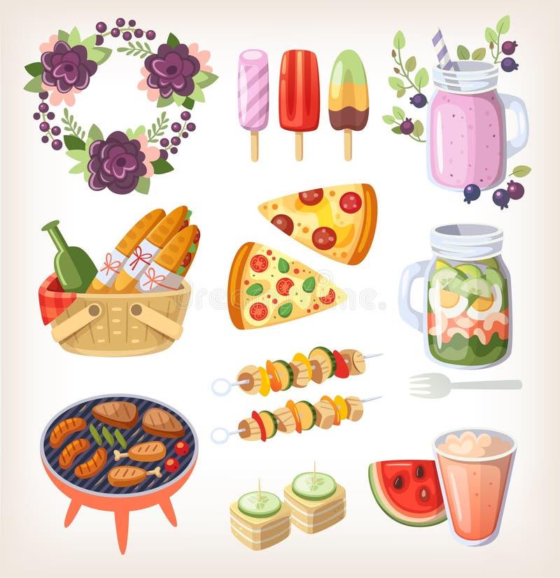 Elementos de la comida y de la reconstrucción del verano libre illustration
