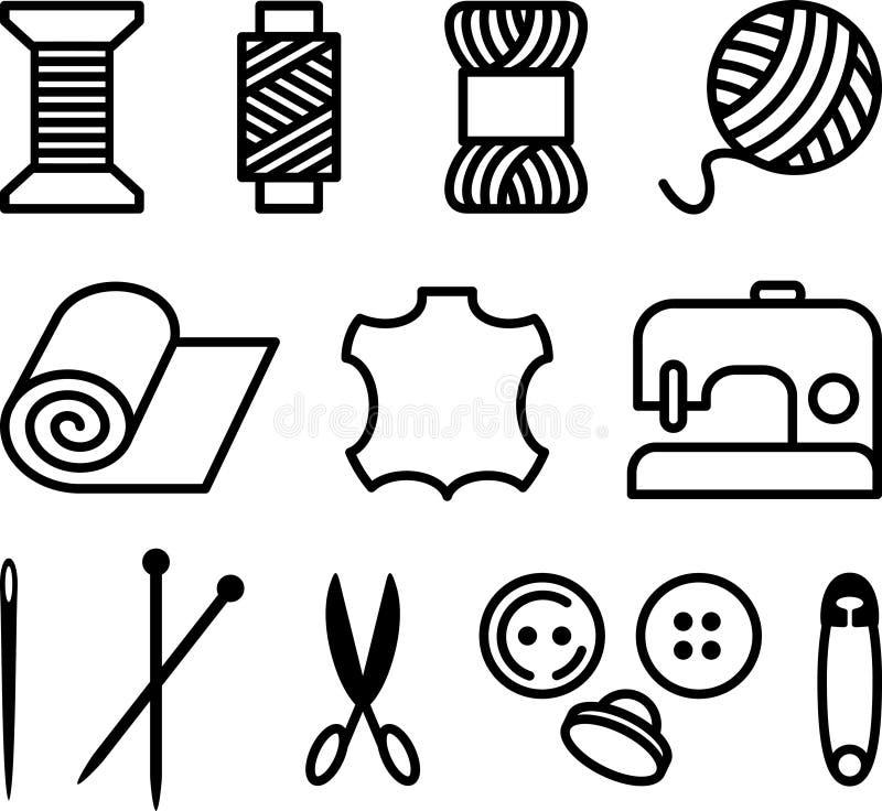 Elementos de la costura/de la personalización stock de ilustración