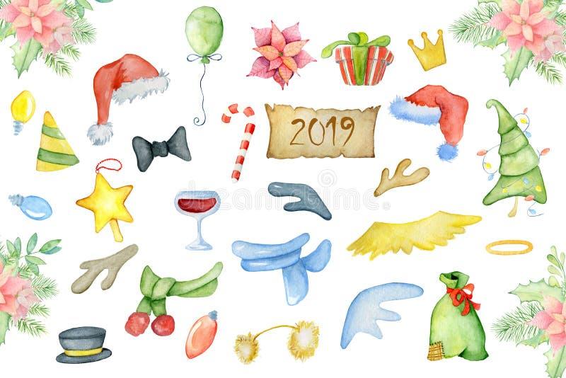 Elementos de la decoración de la acuarela de la Feliz Navidad Sombrero de Papá Noel de las decoraciones de la Feliz Año Nuevo, cu libre illustration