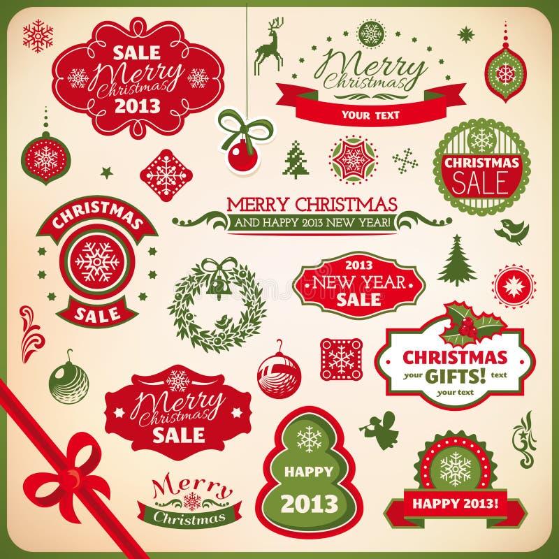 Elementos de la decoración de la Navidad y del Año Nuevo libre illustration