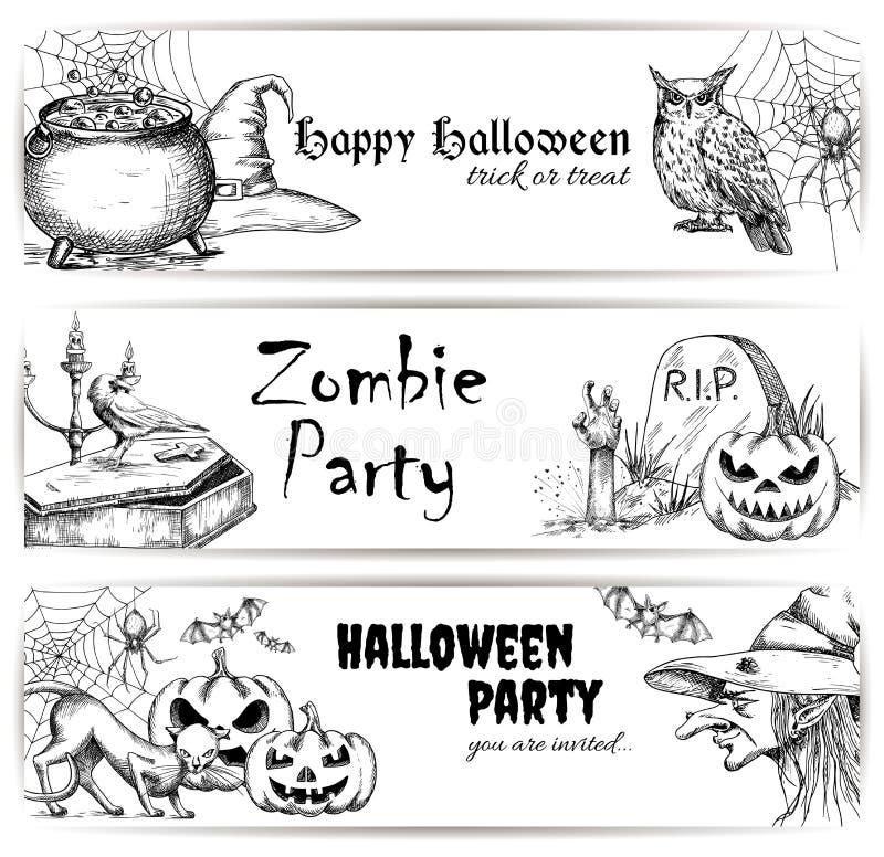 Elementos de la decoración del bosquejo del lápiz de Halloween ilustración del vector