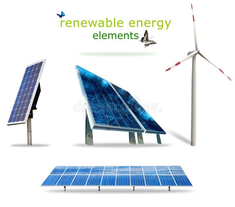 Elementos de la energía renovable fotos de archivo libres de regalías