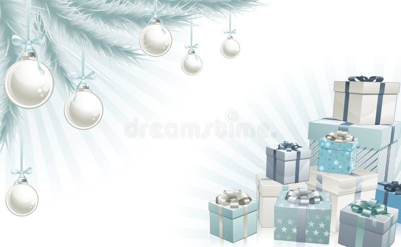 Elementos de la esquina azules de plata de la Navidad ilustración del vector