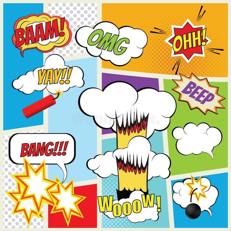 Elementos de la explosión del cómic del vector libre illustration