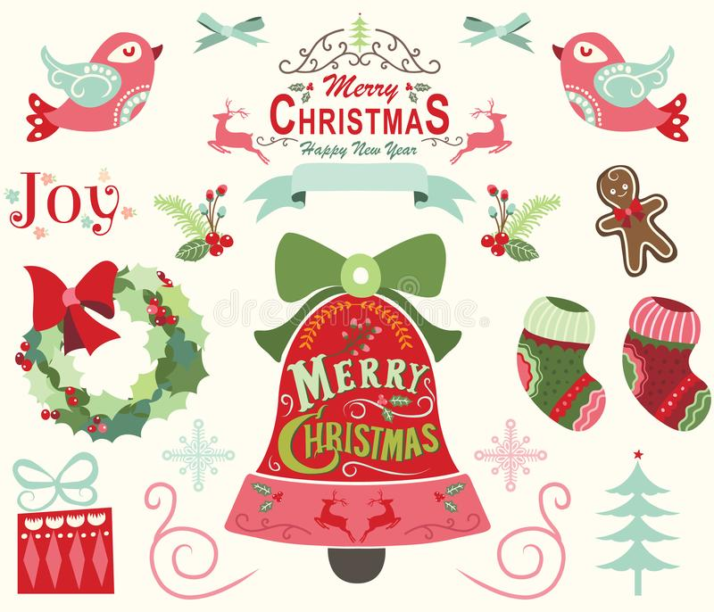 Elementos de la Feliz Navidad y de la Feliz Año Nuevo stock de ilustración