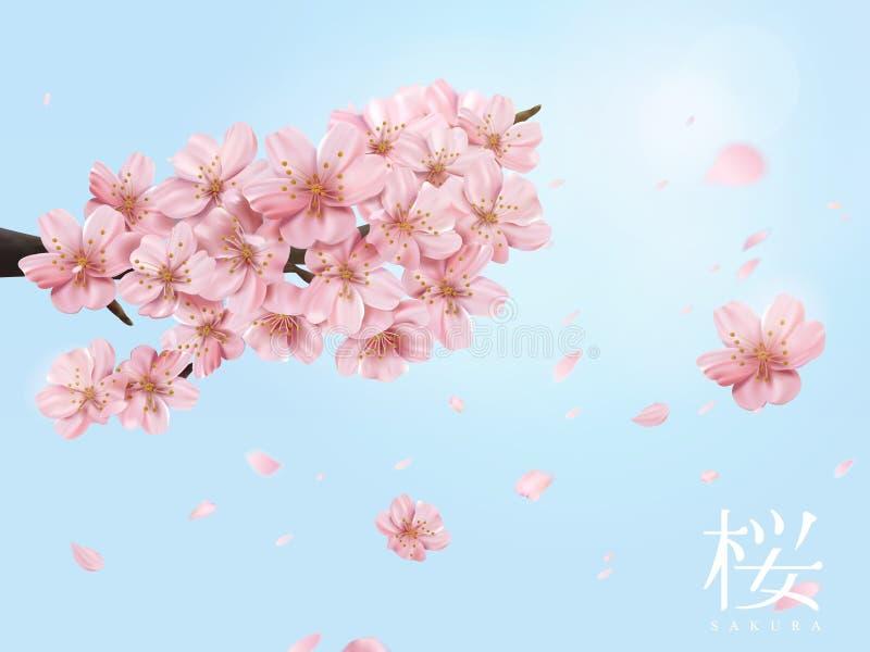 Elementos de la flor de cerezo stock de ilustración