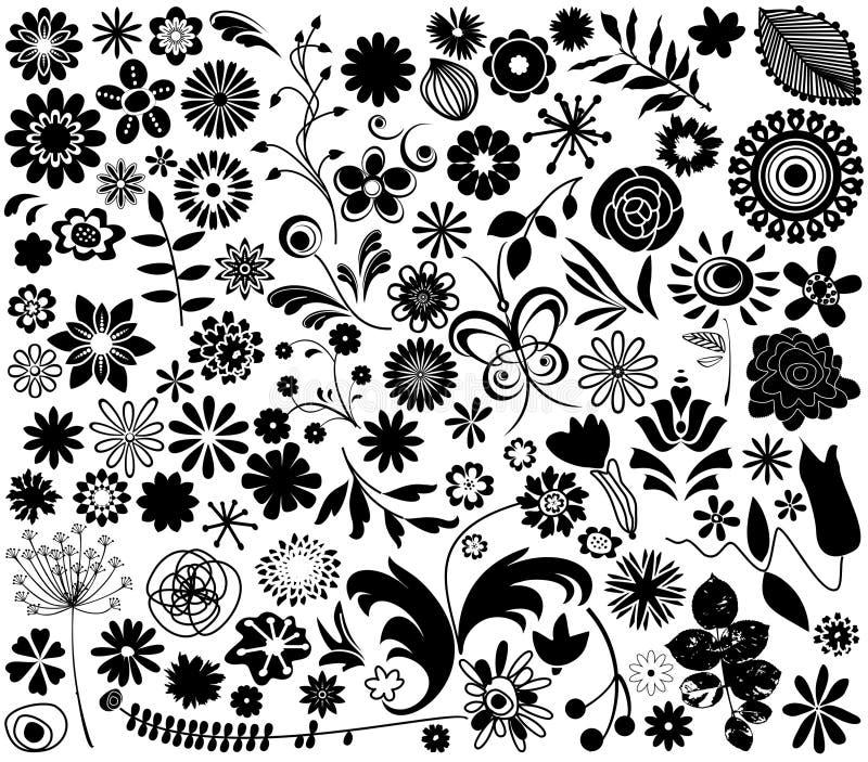 Elementos de la flor del vector stock de ilustración