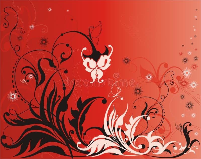 Elementos de la flor del vector en fondo rojo ilustración del vector