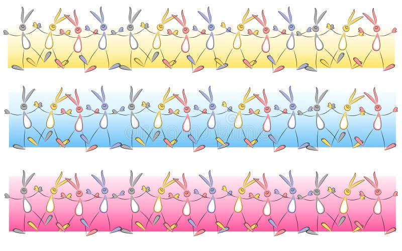 Elementos de la frontera del conejito de Cartoonish pascua libre illustration
