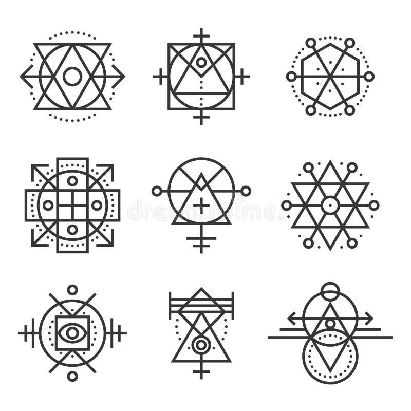 Elementos de la geometría y sistema de símbolos sagrados del inconformista Vector ilustración del vector
