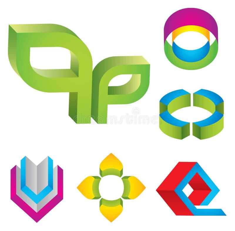 elementos de la insignia 3d stock de ilustración