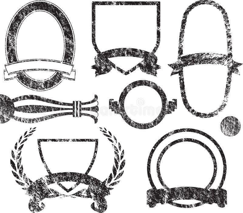 Elementos de la insignia de Grunge stock de ilustración