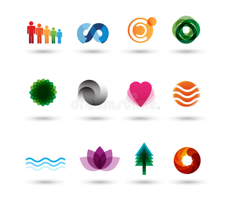 Elementos de la insignia del diseño ilustración del vector